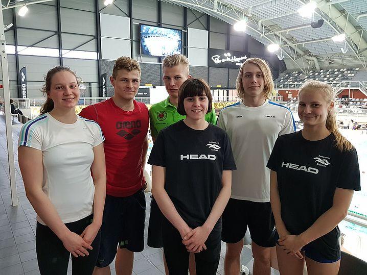 Unsere Starter in Eindhoven v.l.: Milla Sperlich, Georg Schubert, Rafael Sünkel, Lilo Frirkert, Max Hutzler, Alexandra Arlt. (c)Foto:P.Bräunlich