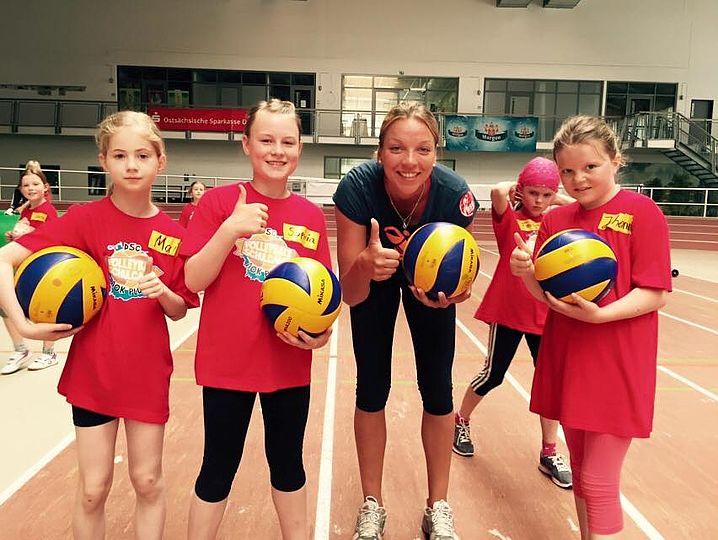 Katharina Schwabe nahm sich Zeit für eine Trainingseinheit mit den Jüngsten.